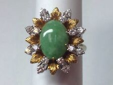 GREEN JADE AND DIAMONDS SET IN 18KT TWO TONE GOLD RING SIZE 6