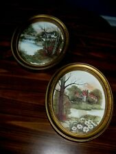 Pair Vintage Homco Interior Cottage Oval Gold Framed In Glass Pictures 11X9""