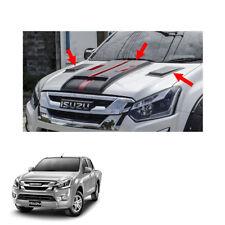 2016 2017 Bonnet Hood Scoop Cover Matte Black Red Trim 3Pc On Isuzu D-max Holden