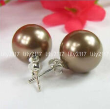 Pretty Natural 14mm Brown South Sea Shell Pearl Round beads Silver Stud Earrings