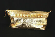 MARC JACOBS Metallic Gold Crinkle Leather Glitter Studded Clutch Bag
