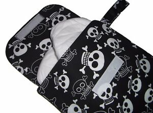 Baby Skull Pirate Fabric Nappy Diaper & Wipes Changing Travel Pouch Case Bag NEW