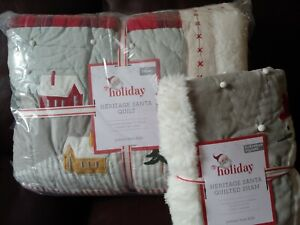 S2 POTTERY BARN KIDS Heritage Santa Quilt Euro Sham Twin Christmas Sold Out!