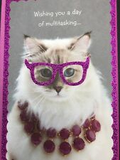 American Greetings Sparkly Cat Birthday Card Pink Happy Pampering Glitter Funny