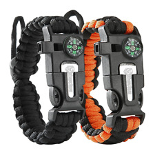 Tactical Survival Bracelet [2 pack] - Paracord 550 + Compass + Fire Starter + Lo