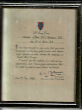 Field Marshal B.L. Montgomery of Alamein  HAND SIGNED CERTIFICATE OF APPRECIATIO