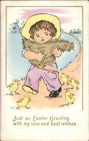 Easter - Little Farmer Girl Carrying Chicken c1915 Postcard