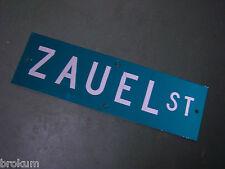 "Vintage ORIGINAL ZAUEL ST STREET SIGN 30"" X 9"" WHITE LETTERING ON GREEN"