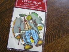 "Merrimack 1979 TEDDY BEAR PAPER DOLL SET~~5.5"" Bear~5 Costumes~2 Hats~~New!"