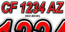Red Bevel Custom Boat Registration Number Decals Vinyl Lettering Stickers USCG