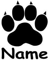 Pfote, Cat, Dog, Hundepfote, Katzenpfote mit Namen Aufkleber Sticker in 15X19cm!
