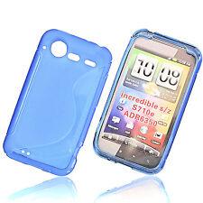 Rubber Silikon TPU Handy Hülle Cover Case Schutz Blau für HTC Incredible S