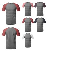 FashionOutfit Men's Color-Block Raglan Short Sleeves Cotton Based Tee (S to 2XL)