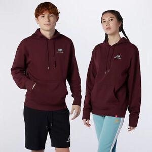 New Balance Essentials Embroidered Hoodie Men's Burgundy Sportswear Sweatshirt