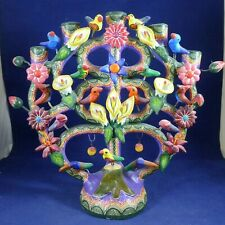 Vintage Mexican Folk Art Tree Of Life Candle Holder Candelabra Signed Castillo?