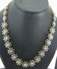 REAL UNCUT PAVE ROSE CUT DIAMOND & POLKI DIAMOND 8.32ct SILVER WEDDING NECKLACE