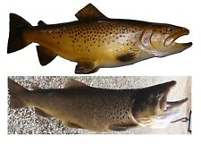 Chainsaw Carving Brown Trout Carved Cutthroat Steelhead Fly Fishing Fish Art b