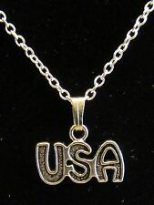"NEW 18""  925 Sterling Silver USA Patriotic Pendant Necklace Nice!!"
