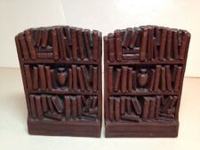 Antique Syroco Bookends Bookshelves Filled With Books Vintage Book Ends