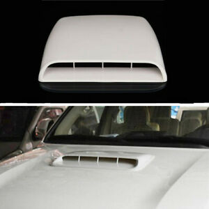 ABS Car Air Flow Intake Hood Scoop Bonnet Vent Decor Cover Self-Adhesive White