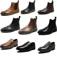 New Mens Real Leather Ankle Chelsea Boots Brown Black Slip On Shoes Size 6 -12