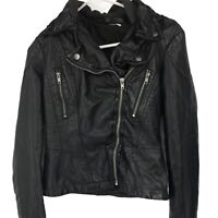 Free People Womens Size 4 Black Faux Leather Moto Jacket Ladies