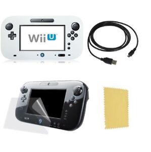 Pack 3 en 1 Wii U Gamepad : Housse silicone Noir Chargeur USB Protection écran