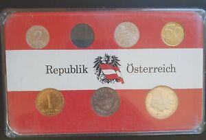 1969 Austria Proof Set - 7 Proof Coins Republik Österreich Set...