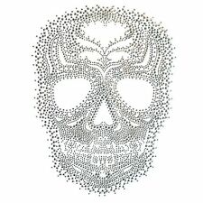 Rhinestone Iron On Transfer Hot fix Motif Fashion Design Silver Skull Tattoos