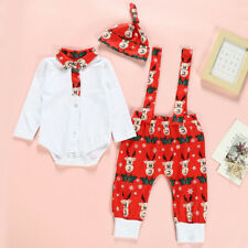Christmas Infant Kids Baby Girl Boy Romper Suspender Trousers Pants Hats Outfits