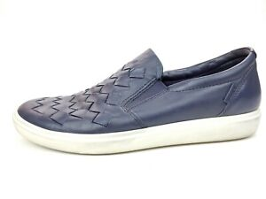 ECCO Night Sky Soft 7 Woven Slip On Sneakers Women's Size 10 EW Leather Casual