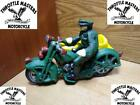 Cast Iron Police Motorcycle Sidecar Harley Indian with Rider