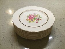 "Lot of 7 Keystone Canonsburg Pottery Co. 6"" Bread Plates, Floral, Gold Trim"
