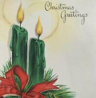 Vintage Mid Century Christmas Greeting Card Green Candles Red Ribbon Hallmark