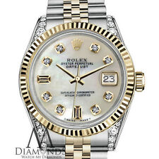 Woman's Rolex 26mm Datejust 2-Tone White MOP Mother Of Pearl 8 + 2 Diamond Dial