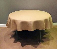 Tablecloth Burlap Natural Round Seamless 45 Inch By Broward Linens