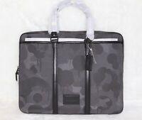💚COACH Mens Metropolitan Slim Brief Case Laptop Bag Wild Beast Print Gray Black