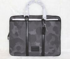 💚COACH Mens Metropolitan Slim Brief Case Laptop Bag Wild Beast Print Gray Black