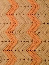"HANDMADE AFGHAN CROCHET THROW 58"" X 29"" PEACH AND OFF WHITE"