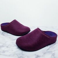 FitFlop | SHUV Womens Size 7 Purple Felted Wool Fabric Slip On Clog Wobble