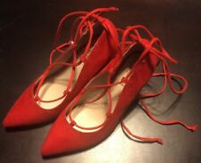 New Red Suede Lace Up Brash Womens High Heel Platform Pumps size 6W