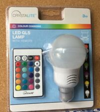 CRYSTALITE LED GLS COLOUR CHANGING LAMP + REMOTE - BAYONET CAP; UNOPENED PACK
