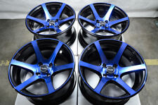 15x8 Wheels Honda Accord Civic Cobalt Escort Corolla Jetta Black Blue 4x100 Rims