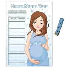 Baby Shower Game - Guess Mummys Tummy - BLUE Stars Boy Party Measuring Tape Tum