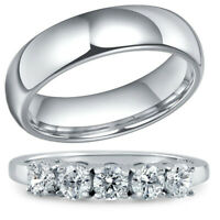 Wedding Anniversary 5 Stone CZ Ring Stainless Steel Band for Him His & Hers Set