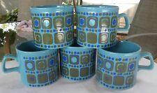 (5) LOT Vtg MID-CENTURY Mod GEOMETRIC Turquoise Green COFFEE MUGS ENGLAND Retro