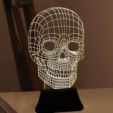 Unbelievable LED 3D Illuminated Skull Illusion Light Sculpture Desk Lamp Night
