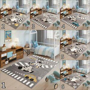 Grey Kid's Rug Nursery Bedroom Mat Children Soft Rugs Animal Playroom Carpets