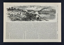 Harper Civil War Print Water Battery at Fort Donelson Tennessee River Steamboat