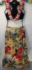 Hawaiian Liz Claiborne Silk Wrap Long Skirt Sarong Floral Palm Size 4 Luau Party